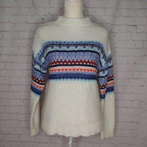 St. John's Bay White Fair Isle Sweater Medium EUC